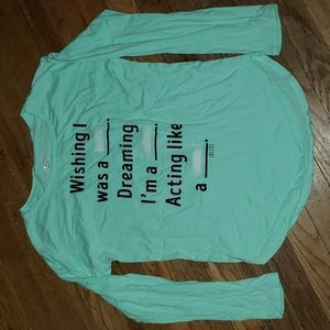 Justice sz 14 fill on the blank long sleeved shirt